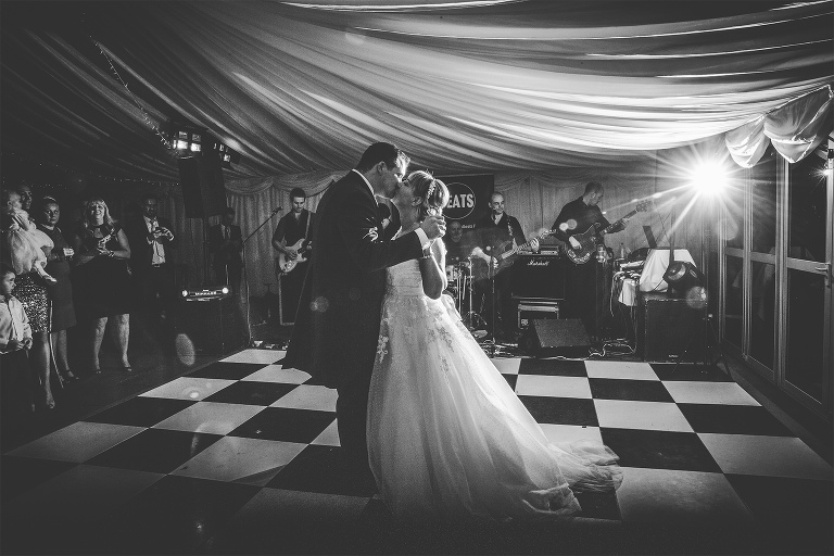 First dance kiss at the Inn at whitewell wedding