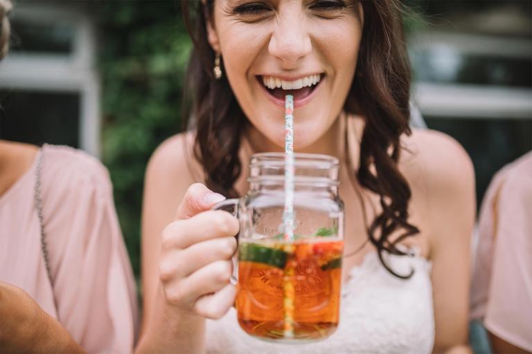 lancashire Bride zipping from a jar glass